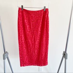 Halogen Red Lace Midi Skirt Crochet High Waisted
